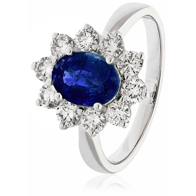 3.30CT Blue Sapphire & Diamond Halo Engagement Ring DHLMJSL7468BSC Image