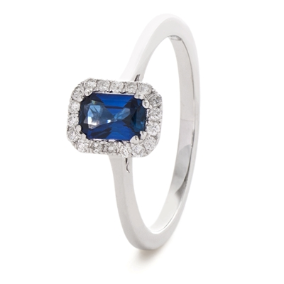 0.80CT Emerald Blue Sapphire & Diamond Ring DHLMJSL8049BSC Image