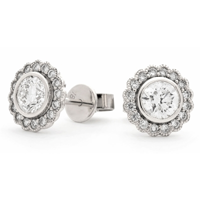 1.00ct Unique Round Diamond Single Halo Earrings DHLMJBJE0141 Image