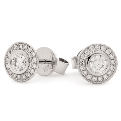 0.70ct Classic Round Diamond Single Halo Earrings DHLMJBJE0144 Image