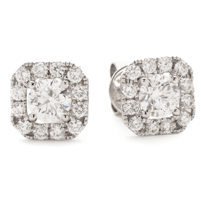 1.10ct Unique Cushion Diamond Single Halo Earrings DHLMJBJE0157 Image