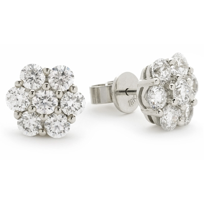 1.35ct Classic Round Diamond Cluster Earrings DHLMJXYE1700 Image