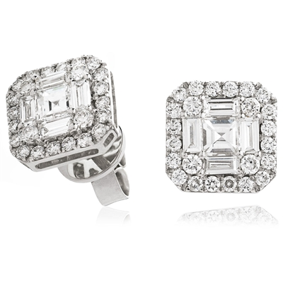 1.55CT Classic Diamond Cluster Earrings DHLMJSE4099 Image