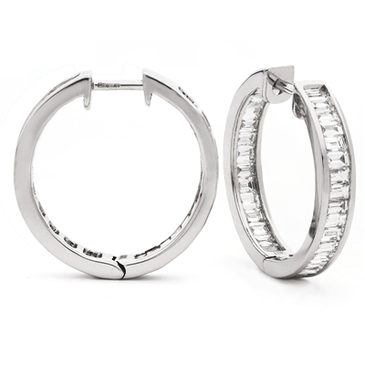 2.00CT Modern Baguette Diamond Hoop Earrings DHLMJSE4070 Image