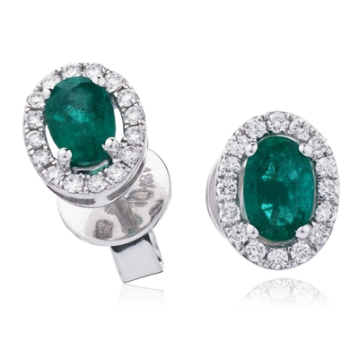 1.30CT Oval Shaped Emerald & Diamond Halo Earrings DHLMJSE4184EM Image