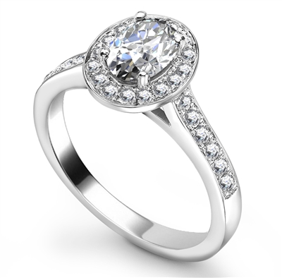 Oval Diamond Single Halo Shoulder Set Ring DHRX4398 Image