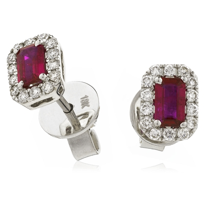 0.90CT Emerald Ruby & Diamond Cluster Earrings DHLMJSE4066RY Image