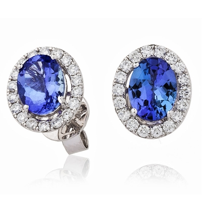 3.00CT Oval Blue Tanzanite & Diamond Cluster Earrings DHLMJSE3566ETZ Image