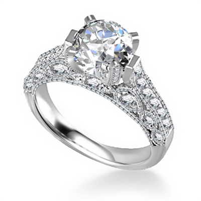 Unique Round Diamond Vintage Ring DHAN570 Image