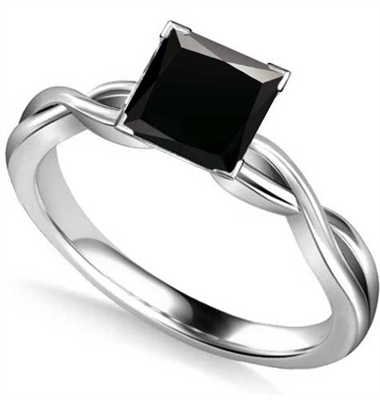Princess Black Diamond Solitaire Ring DHAN514PRNBLK Image