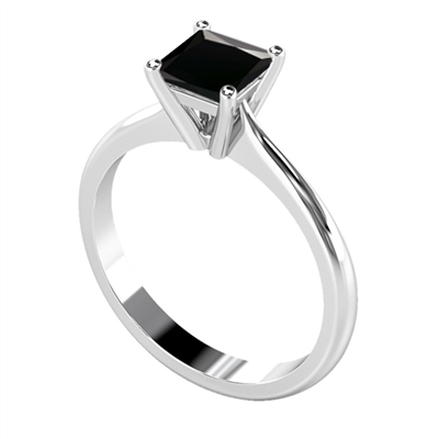 Princess Black Diamond Solitaire Ring DHDOMCX21SE42BLK Image