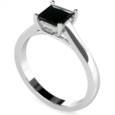 Princess Black Diamond Solitaire Ring DHDOMR1136BLK Image