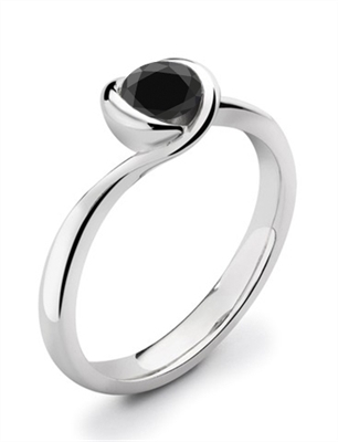 Round Black Diamond Solitaire Ring DHDOMR11021BLK Image