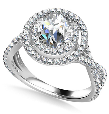 Double Halo Infinity Round Diamond Ring DHAN528 Image