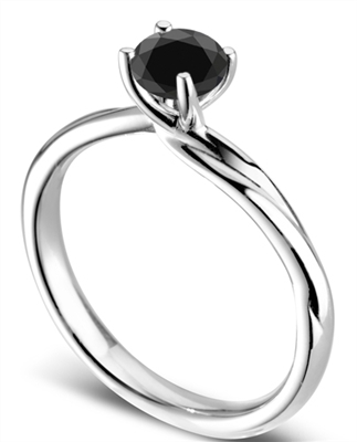 Round Black Diamond Solitaire Ring DHDOMR11143BLK Image