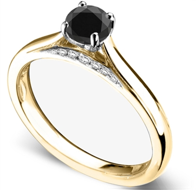 Round Black Diamond Solitaire Ring DHDOMR11144BLK Image