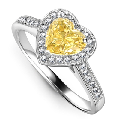 Yellow Heart Shaped Diamond Single Halo Shoulder Set Ring DHRX4497YD Image