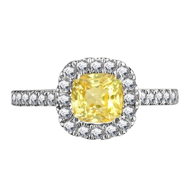 Fancy Yellow Cushion Diamond Shoulder Set Ring DHDOMDSC73YD Image