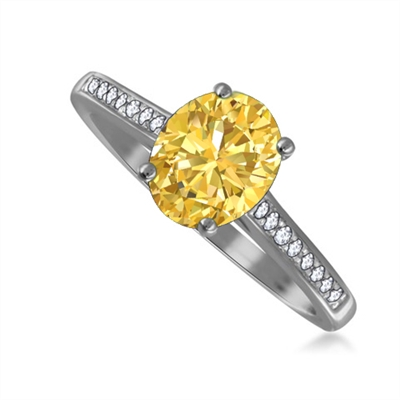Fancy Yellow Oval Diamond Shoulder Set Ring DHRX2263OVYD Image
