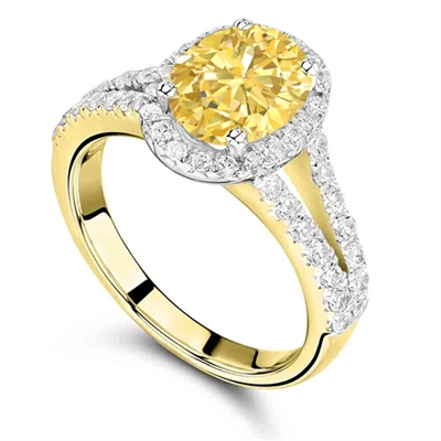 Fancy Yellow Oval Diamond Shoulder Set Ring DHRX4015YD Image