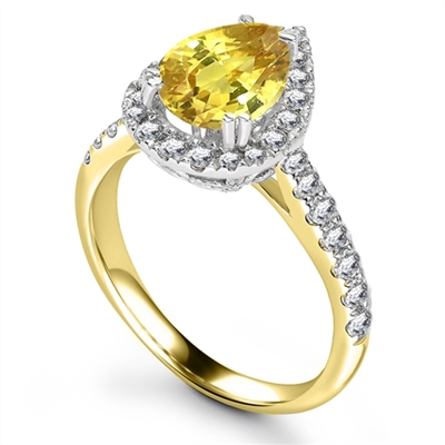 Fancy Yellow Pear Diamond Single Halo Shoulder Set Ring DHRX4793YD Image
