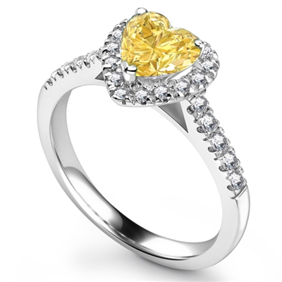 Yellow Heart Shaped Diamond Single Halo Shoulder Set Ring DHRX5533YD Image