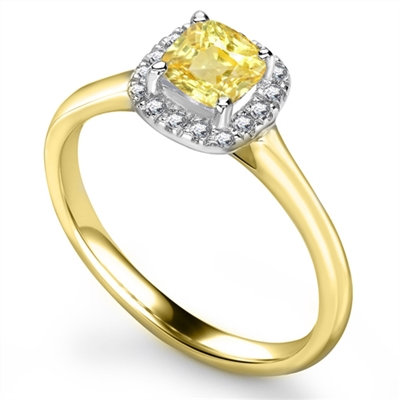Fancy Yellow Cushion Diamond Cluster Ring DHRX5886YD Image