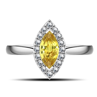 Fancy Yellow Marquise Diamond Halo Shoulder Set Ring DHRX4877YD Image