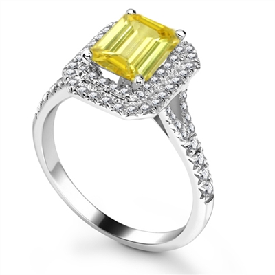 Fancy Yellow Emerald Diamond Halo Shoulder Set Ring DHRX5221YD Image