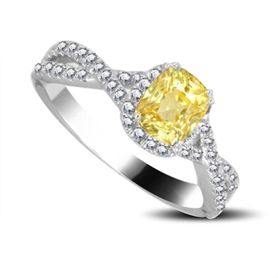 Fancy Yellow Cushion Diamond Halo Shoulder Set Ring DHRX6311YD Image