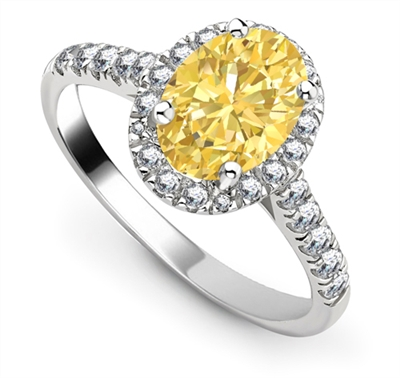 Fancy Yellow Oval Diamond Halo Shoulder Set Ring DHRX6518YD Image