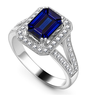 Blue Sapphire & Diamond Halo Shoulder Set Ring DHRX3886BSC Image