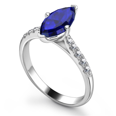 Marquise Blue Sapphire & Diamond Halo Ring DHRX3493BSC Image