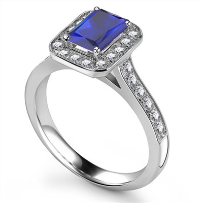 Radiant Blue Sapphire & Diamond Halo Ring DHRX4397BSC Image