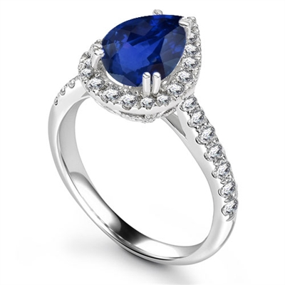 Pear Blue Sapphire & Diamond Halo Ring DHRX4793BSC Image