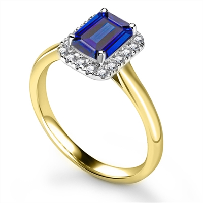 Emerald Blue Sapphire & Diamond Halo Ring DHRX5884BSC Image