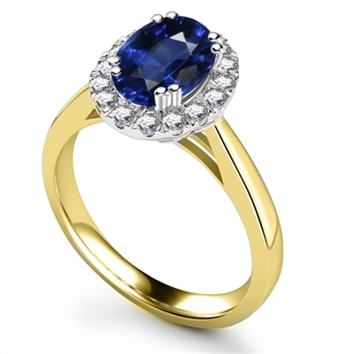 Oval Blue Sapphire & Diamond Halo Ring DHRX3075BSC Image