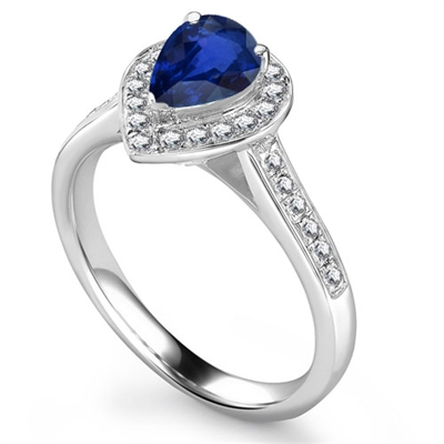 Pear Blue Sapphire & Diamond Halo Ring DHRX4400BSC Image