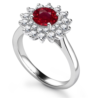 Elegant Round Ruby Diamond Halo Ring DHRX6158RY Image