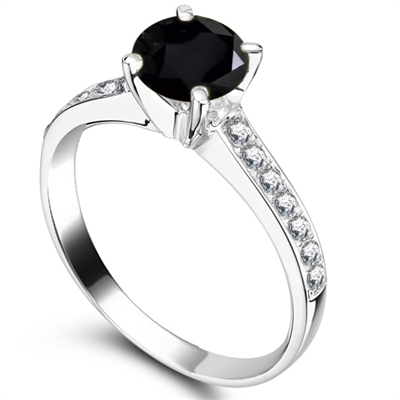 Round Black Diamond Shoulder Set Ring DHRX2869BLK Image