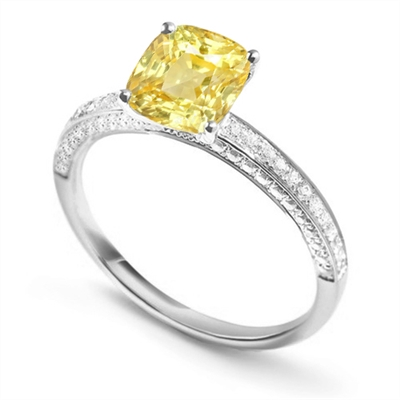 Cushion Yellow Diamond Engagement Ring DHDOMDSX7CUYD Image