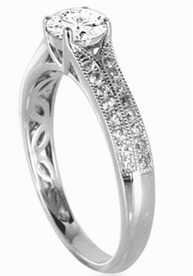 Modern Round Diamond Vintage Ring DHDOMVR9 Image