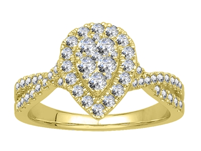 Single Halo Round Diamond Cluster Shoulder Set Ring DHJXJGB9122S Image