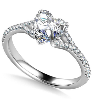 Heart & Round Diamond Engagement Ring DHAN542 Image