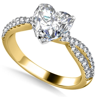 Unique Heart & Round Diamond Ring DHAN535 Image