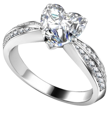 Heart & Round Diamond Engagement Ring DHAN532 Image