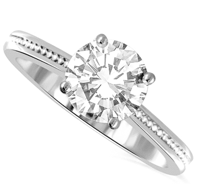 Traditional Single Round Diamond Vintage Style Ring DHDOMR11115 Image
