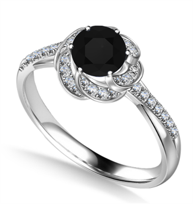 Floral Halo Black Diamond Infinity Ring DHAN705BLK Image