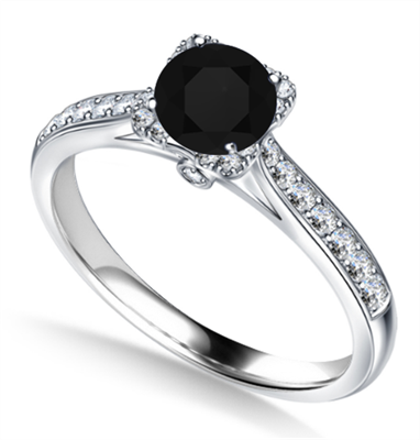 Modern Round Diamond Single Square Halo Ring DHAN706BLK Image