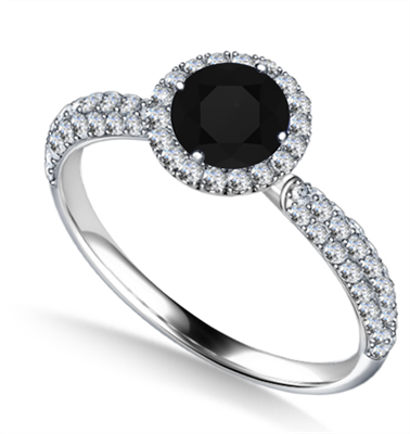 Round Diamond Single Halo Engagement Ring DHAN707BLK Image